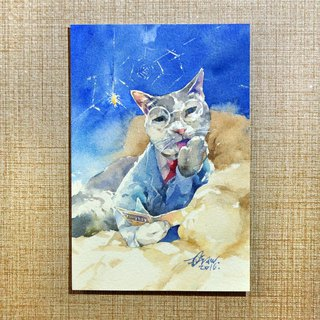 Watercolor original painting [Shengzhu cat]