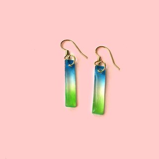 Qinliang blue and green - hand-painted drape earrings (can change the clip)