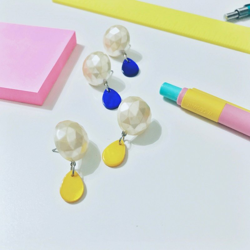 Marygo ﹝ ﹞ three-dimensional cutting butter yellow and blue retro shell earrings