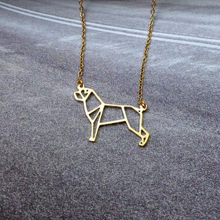 Rottweiler, Origami, Dog Necklace, Pet Jewelry, Gold Plated Necklace, Dog gifts