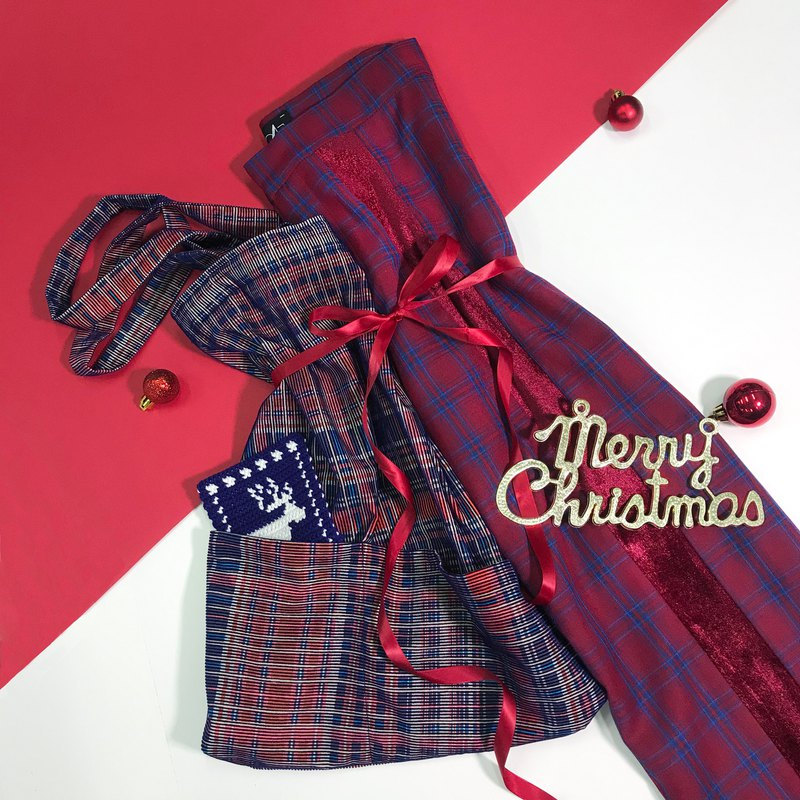 X'MAS Grab Bag B – Plaid Pants + Double Sided Velvet Bag + Braided Coaster