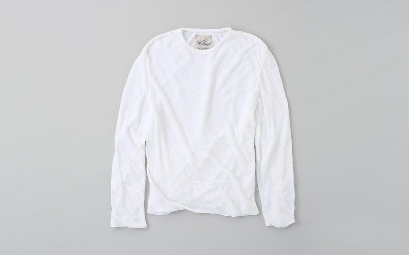 Linen knitted mens / M long sleeve pullover white