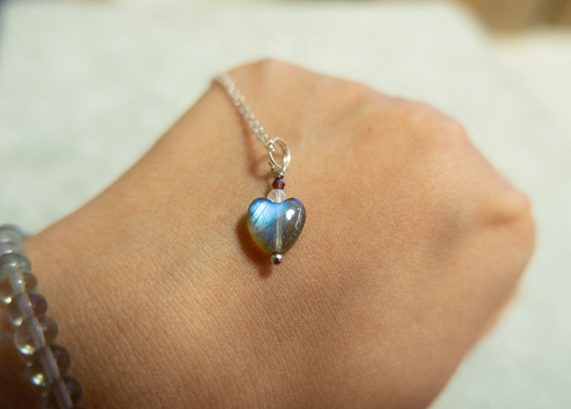 product LH01 -heart shape  Labradorite & moonstone 925 silver necklace