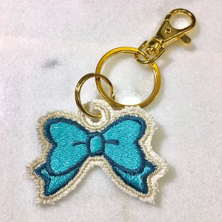 Embroidered bow key ring, charm