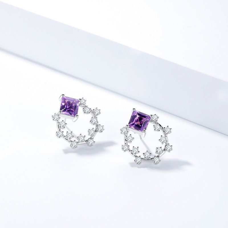 Amethyst 925 Sterling Silver Earrings | Genuine Gemstone Earrings