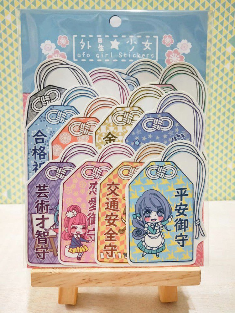Japanese an amulet girl - stickers