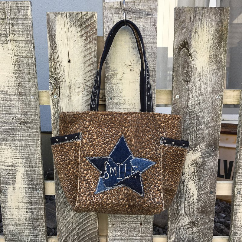 Denim Star Leopard M Size Tote