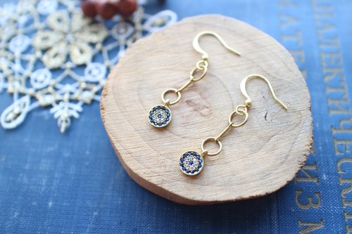 Blue secret-zircon earrings