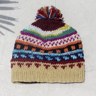 Christmas gift limited to a hand-woven pure wool hat / knitted hair hat / inner bristles woolen hat / wool cap (made in nepal) - passion South America mixed color gradient grape national stripes