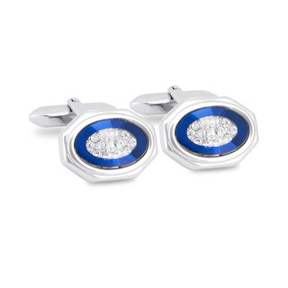 Silver Octagon Blue Bezel with Crystals Cufflinks