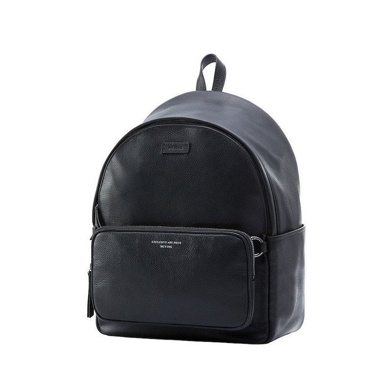 Black full pebbled leather Silver Label backpack