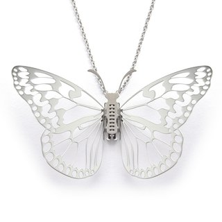 Butterfly Necklace Butterfly@Taiwan-Great White Butterfly Long Necklace (Silver) Magi-Steel Thin Steel Jewelry MIT