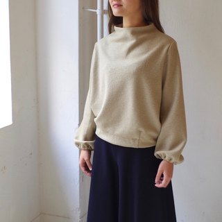 [Made in Japan] Mini Boulevard Build Neck Puff Sleeve Pullover - beige