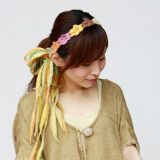 Flower crochet hair ribbon