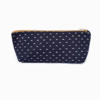Minimal Pencil Pouch Small Makeup Bag - Japanese Indigo Triangle Prints