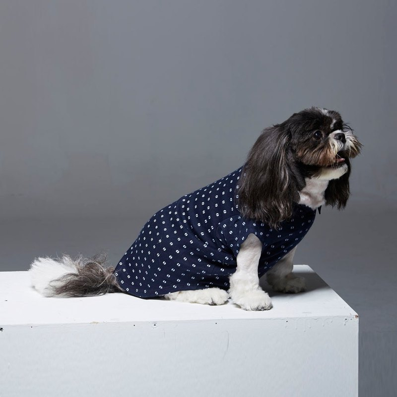 Dotted shirt collar long sleeve POLO pet clothes - widened version