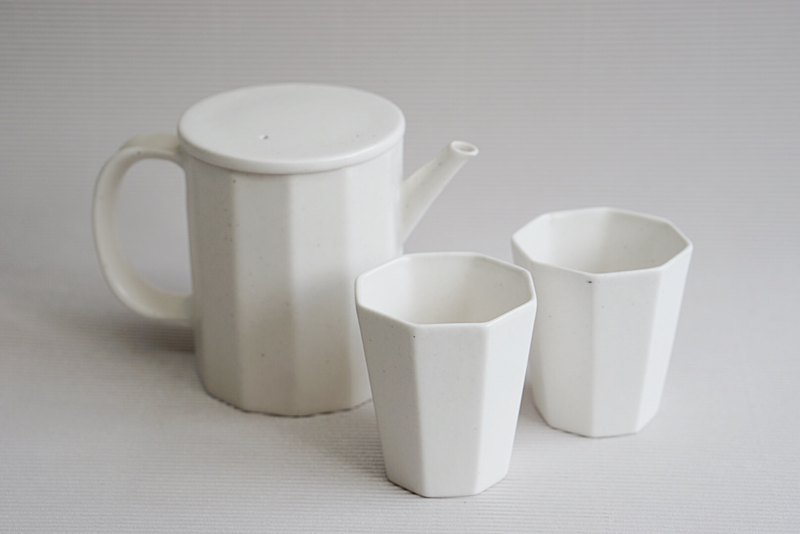 Simple Japanese Matte White Ceramic Tea Set