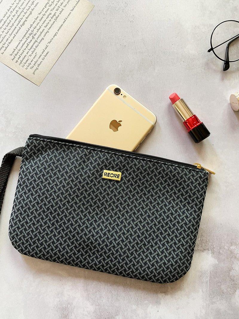 口罩收納包 護照夾 /  防潑水 平織緹花 小編織黑灰