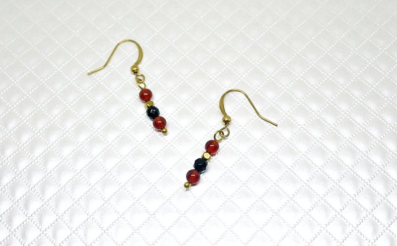 Brass X natural stone * radiant * - hooked earrings