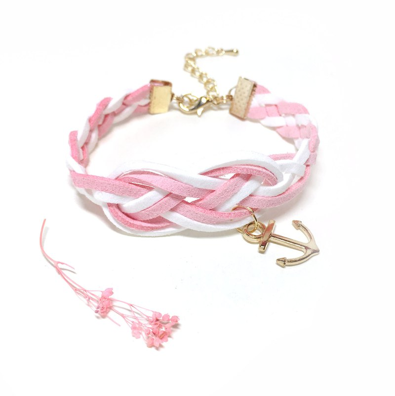 Handmade Braided Sailor Knot Bracelets Rose Gold Series-romantic pink