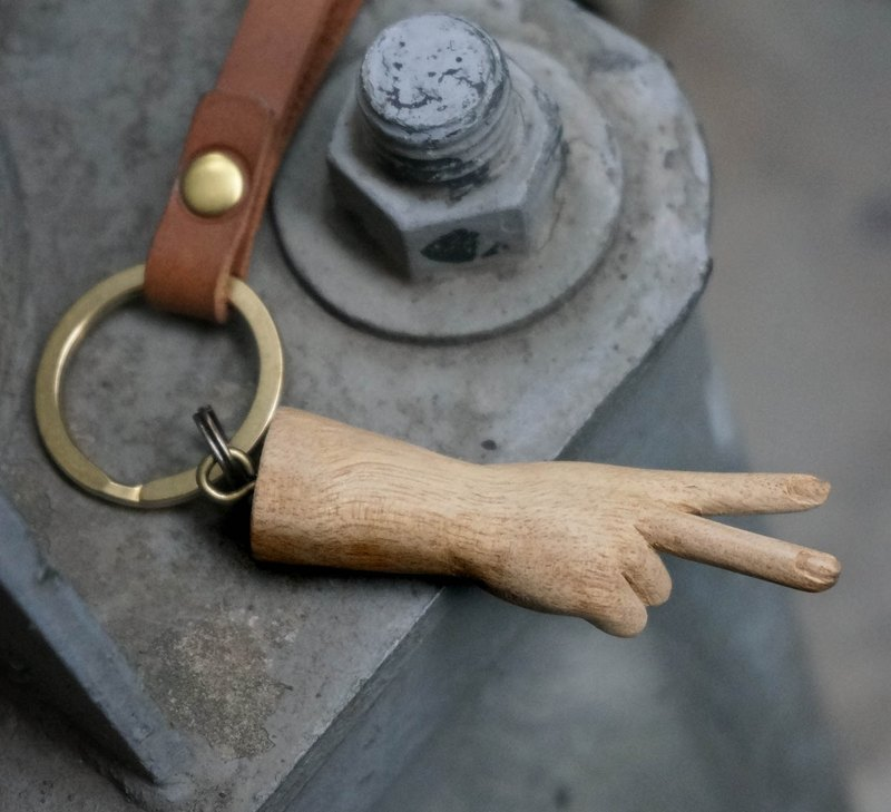 Leather Handmade Elm Carving Small Hand Charm Keyring (V Gesture - Victory)