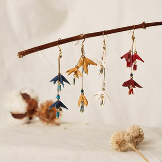 Bellflower leather earring, earclip