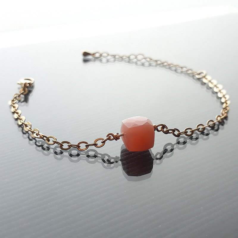 14kgf Peach Powder Opal Stone Opel-Coffee Bracelet