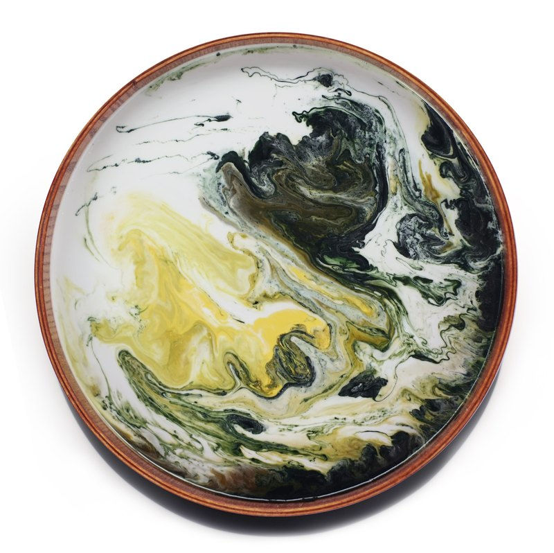 【 Art Deep green・Planet・Wooden tray】24cm
