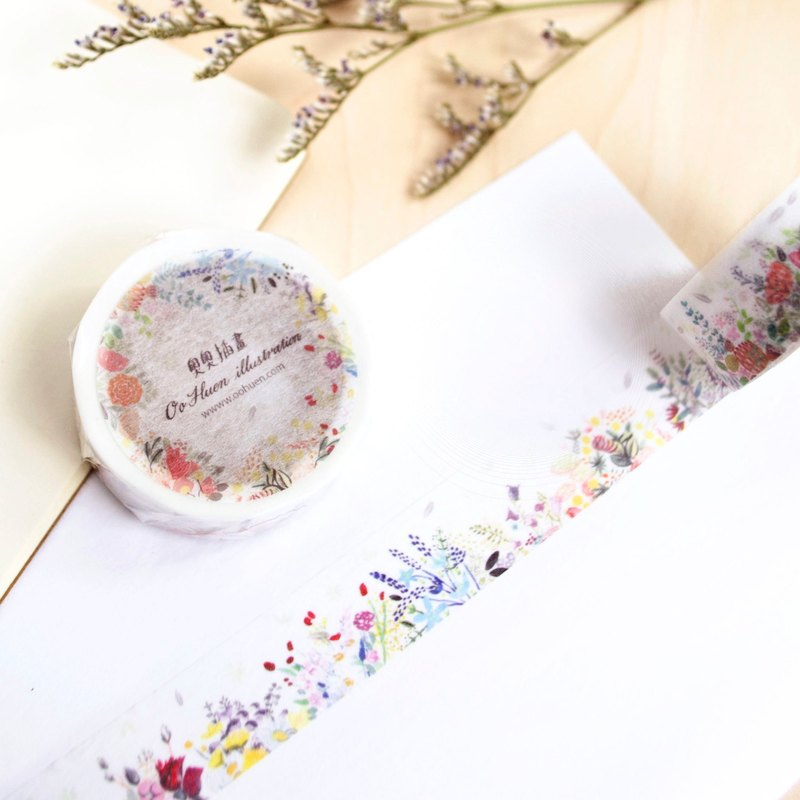 Flower illustration - masking tape (1.5cm (w))