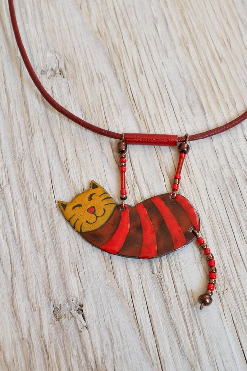 Jewelry, Necklace, Pendant, Enamel, Cat, Cat Pendant, Enamel Pendant, Enamel Necklace, Cat Necklace, Cat Shaped, Boho Necklace, Striped Necklace, Tabby Cat,