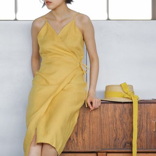 Desert Flower Yellow French V-neck strap strap dress texture linen and knee dress
