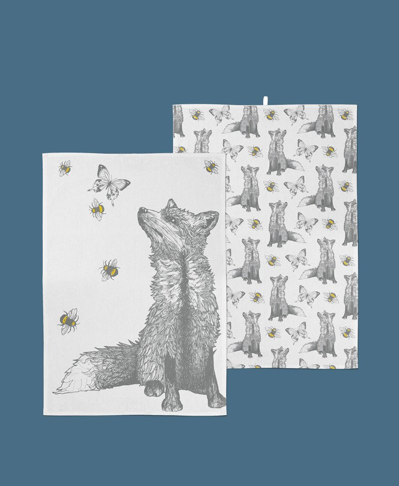 Gillian Kyle Scotland Hand-painted Wolf Kitchen Towels / Dish Towels-A Set of Two