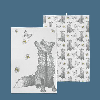 British Gillian Kyle Scottish hand-painted wolf kitchen towel / wipe bowl towel - a set of two into