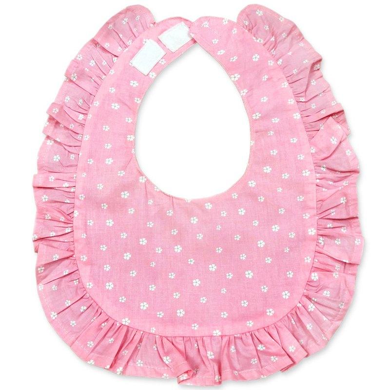 花邊防水圍兜 口水巾 印花純棉  荷葉邊 粉色 白 花朵 小花