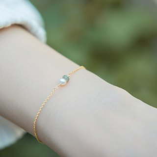 Oil painting Opal pearl gold bracelet