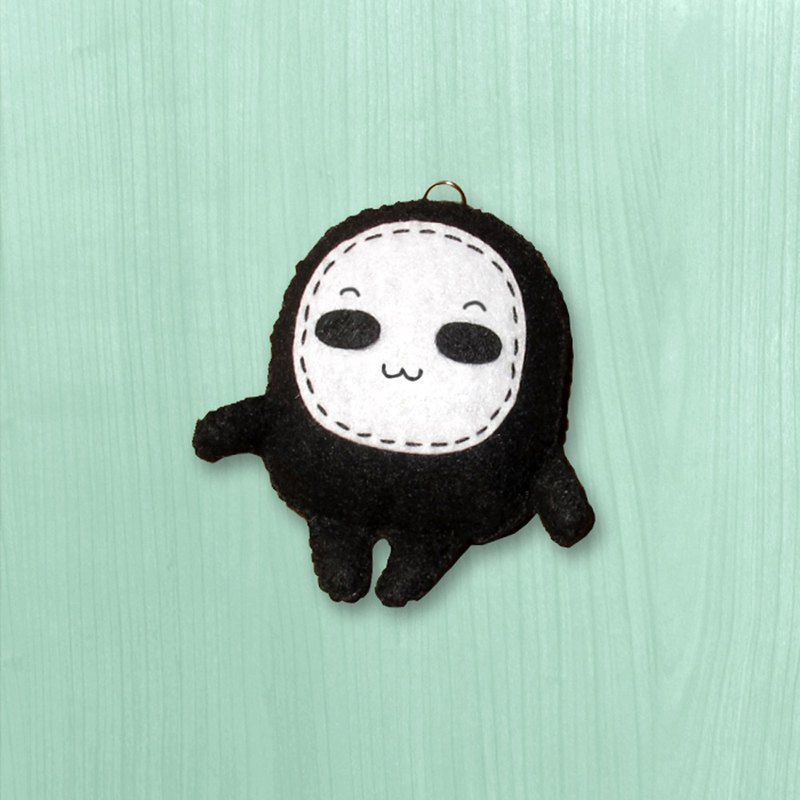 Handmade non-woven charm key ring _ little eyeless male baby - amazing expression 2
