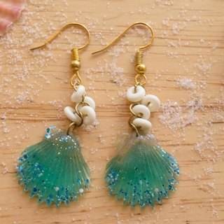 Cute & Beauty Green Shell Resin with Bone Cluster Dangle Earrings