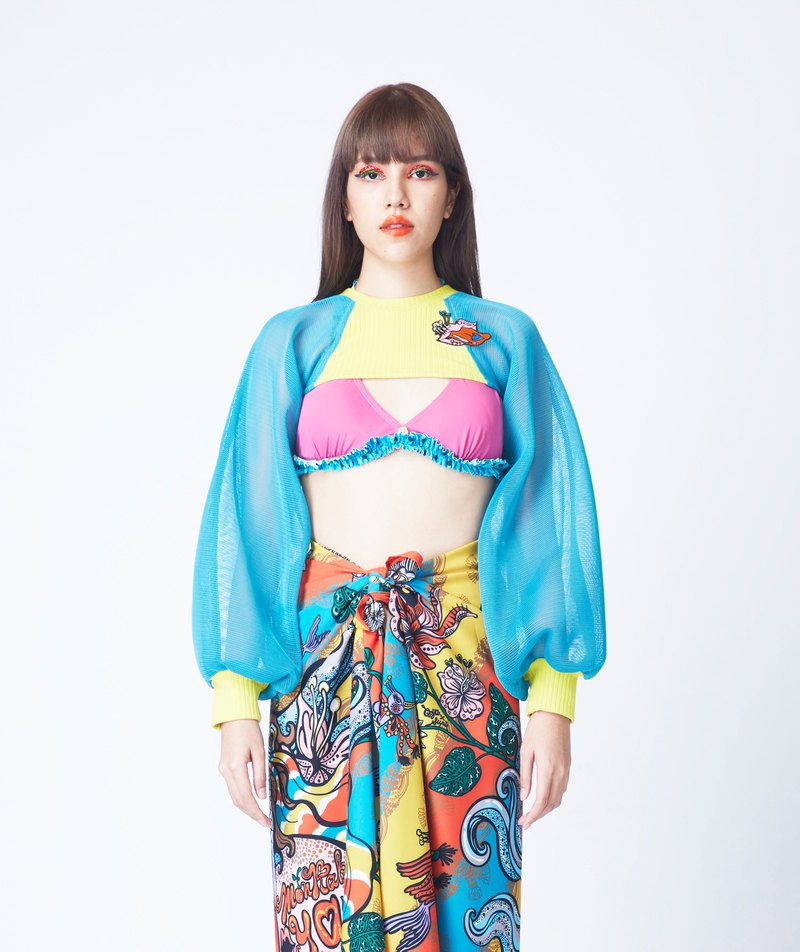 SPACE CROP TOP IN LEMON / TURQUOISE (LM / TQ)