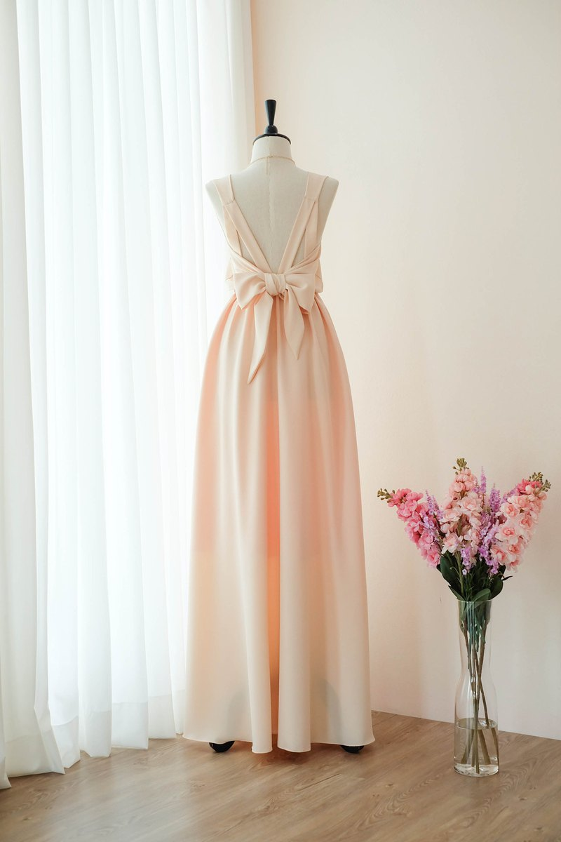 Peach dress Bridesmaid Bridal Dress Prom Cocktail Party Wedding Dress