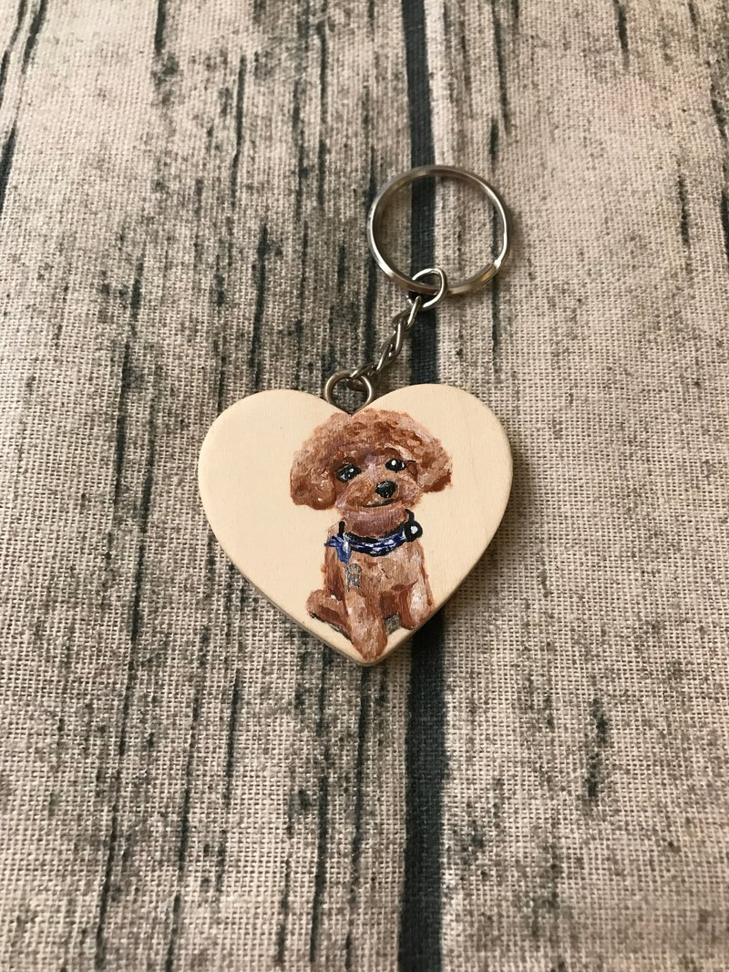 Hand-painted design VIP hair child wooden key ring exchange gift