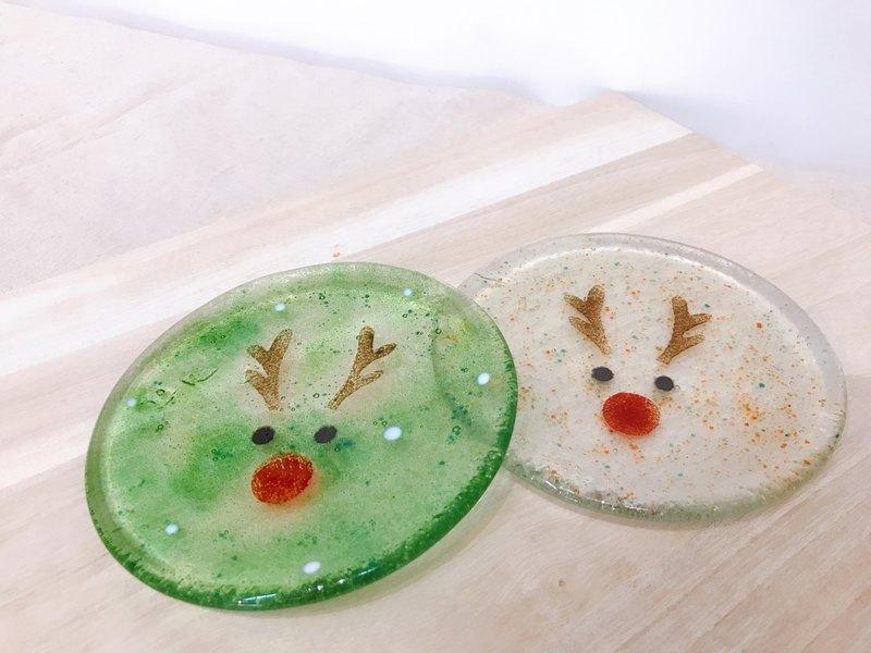 Highlight還來|聖誕禮物 聖誕麋鹿手工窯燒玻璃盤/交換禮物