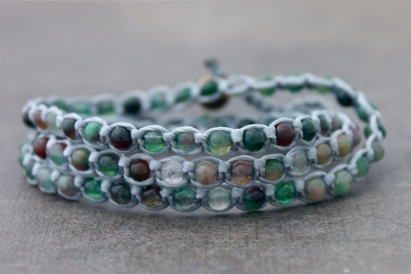 Fancy Jasper Stone Beaded Woven Bracelets Grey Cotton Hemp Wrap Friendship