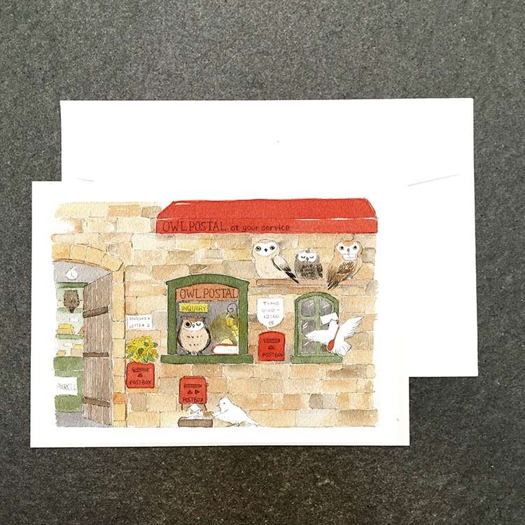 Animal mall の watercolor postcards owl post office