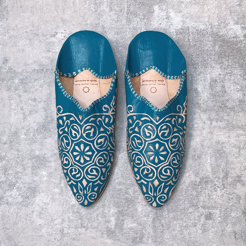 Moroccan balgha leather carving handmade shoes sea blue foot shoes indoor shoes