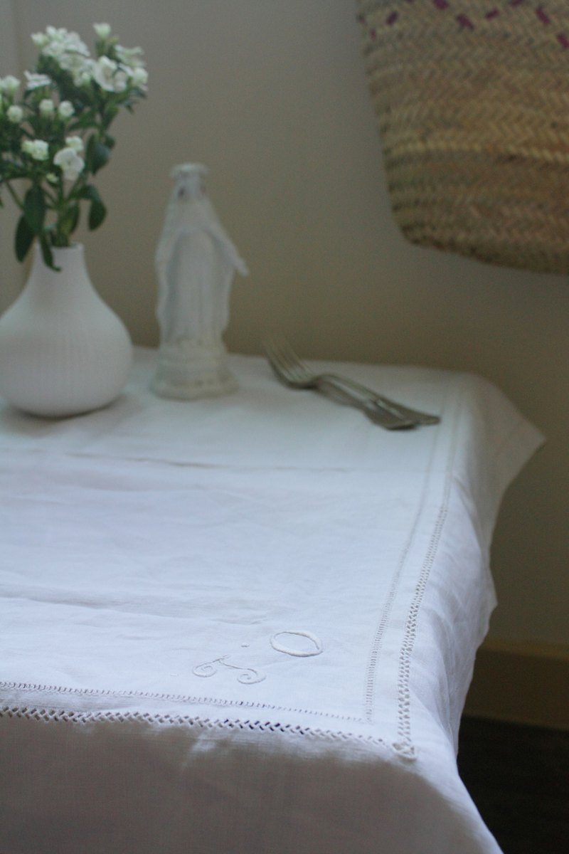 Vintage French linen white tablecloth_Hand embroidery JO