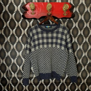Little Turtle Gege - Japan - Plaid and Tire Knit Vintage Sweater