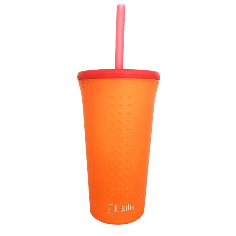 美國GoSili鉑金矽膠(16oz)TOGO吸管隨行杯(香橙橘)