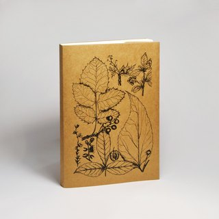 Blank Sketch Paper Notebook - Flowers and Herbs Series 1 Black (Handmade Printing and Customized Text)
