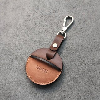 KAKU handmade leather gogoro key leather case hook and loop style dark coffee + light brown