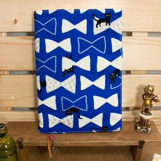 A5 / 25K adjustable multi-functional clothes book / cloth slipcase -A2 tied ribbon cat (blue)